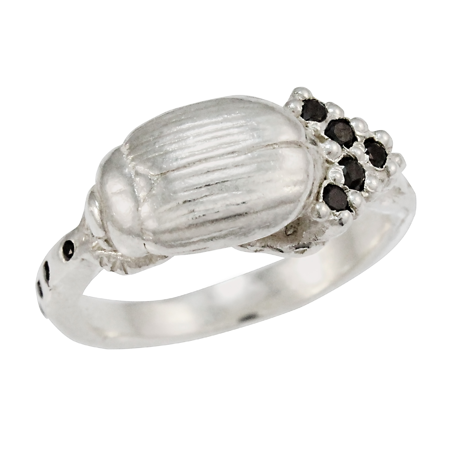 Silver Diamond Single Cluster Beetle Ring