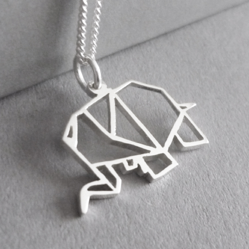 Cute little hand-cut sterling silver ellie pendant - inspired by origami design..