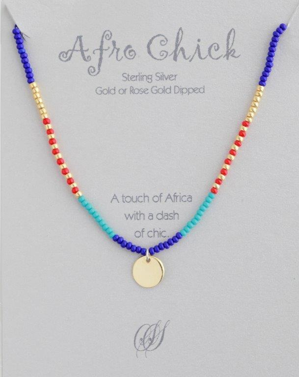 Afro Chick Necklace - Gold, red, blue and turquoise