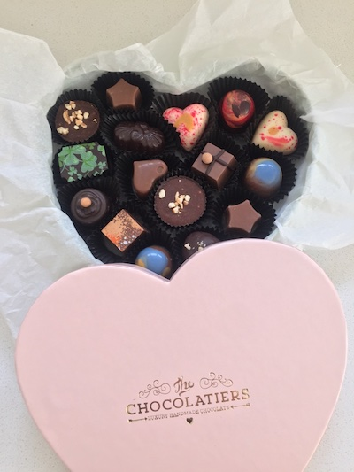 The most beautiful softest pink heart shaped box, filled with 20 delicious soft centred hand crafted colourful chocolates.
