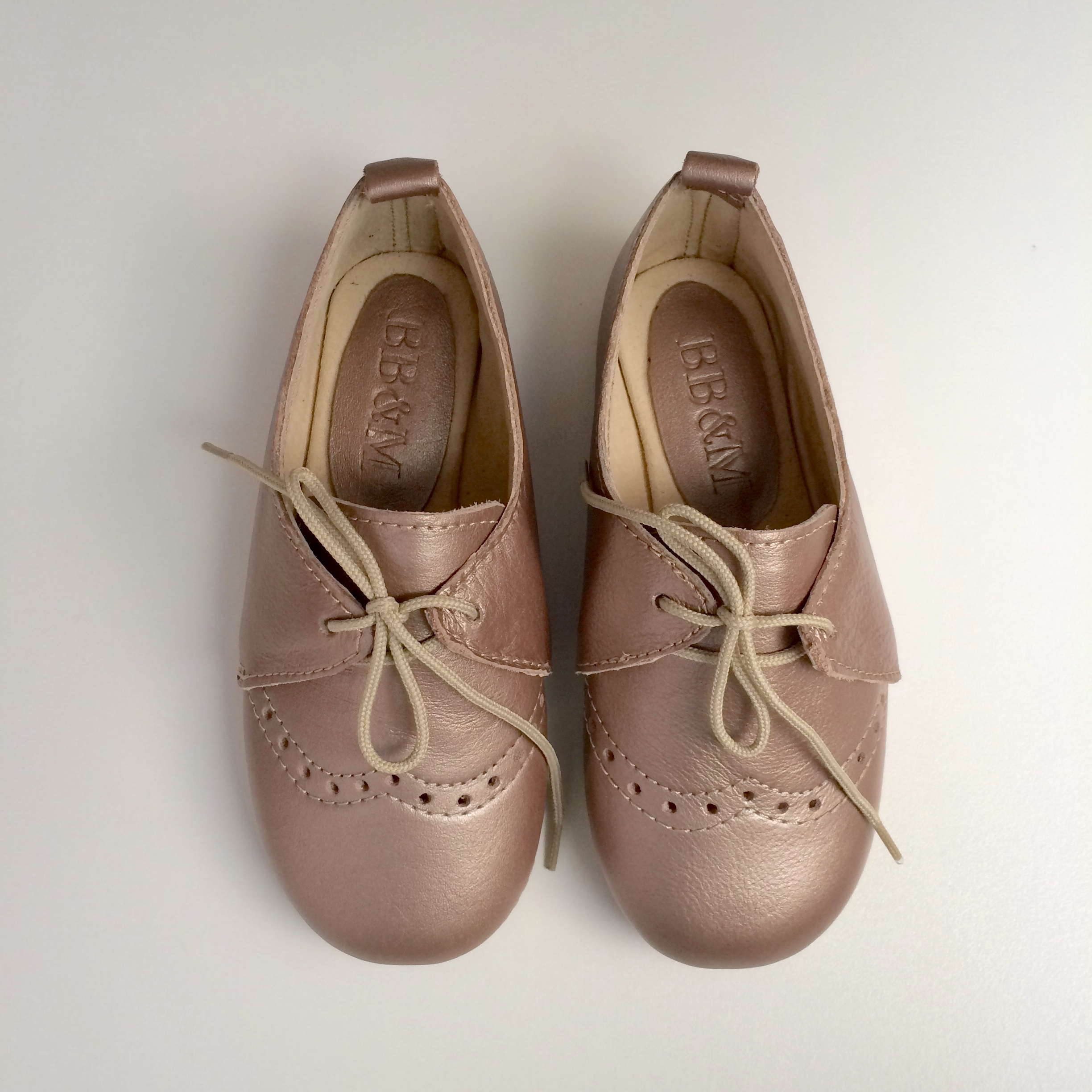 Girls Rose Gold Lace-ups with broguing - GL1