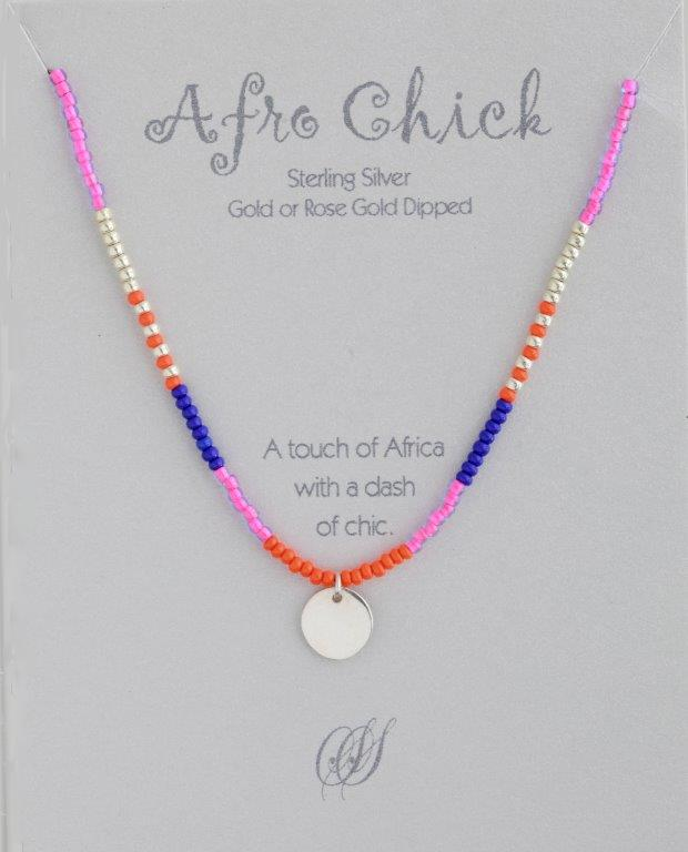 Afro Chick Necklace - Silver, pink, orange and blue