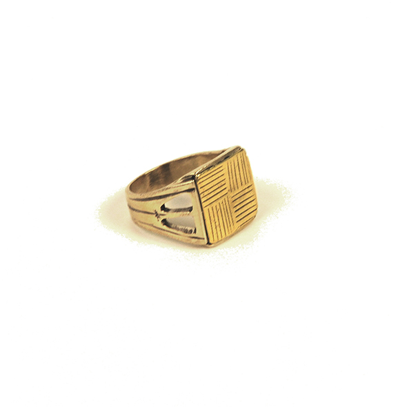 Large Square Gold Signet Ring (unisex)