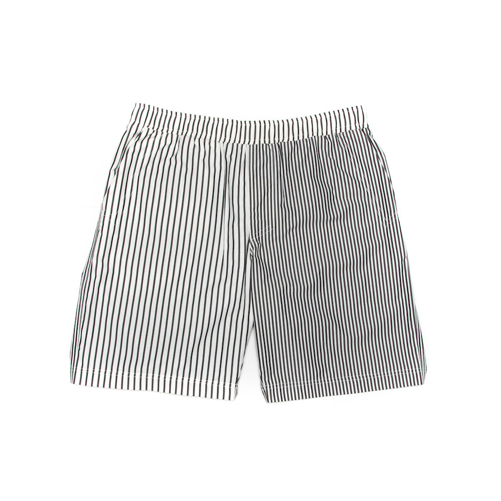 A classic leisure short cut from a lightweight 100% cotton, featuring irregular striped panels. Finished with deep side pockets, a hidden back zip pocket and an elasticated drawstring waistband. 
