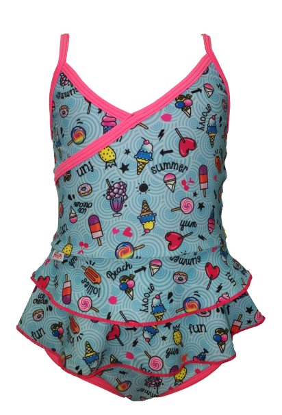 Two piece swimsuit with a longer top sporting little frills covering matching briefs.