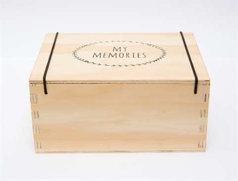 "Wooden storage box with separate lid, secured with black elastic. Screen printed ""My Memories"" garland design in black. Perfect to store all those little memories from yesterday and today for tomorrow.