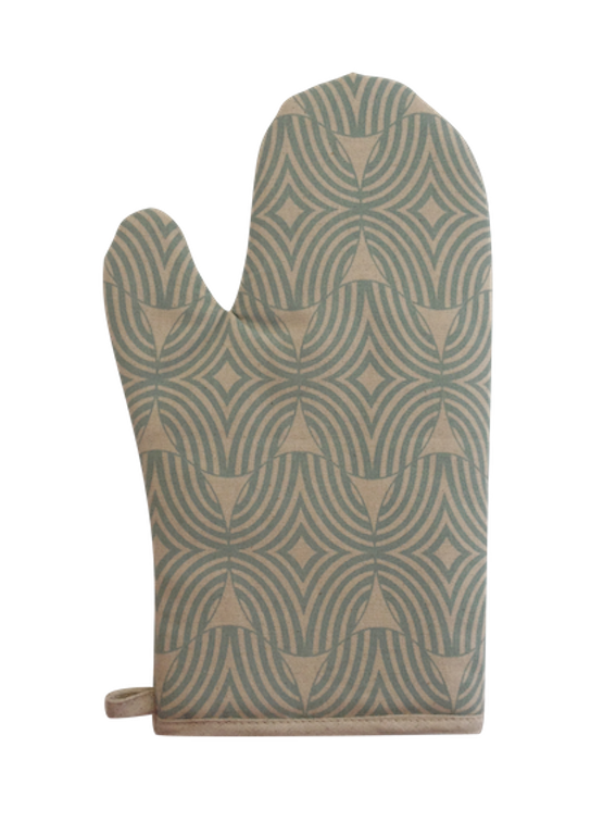 Oven Glove - Indigi wave (Duck egg on Natural)