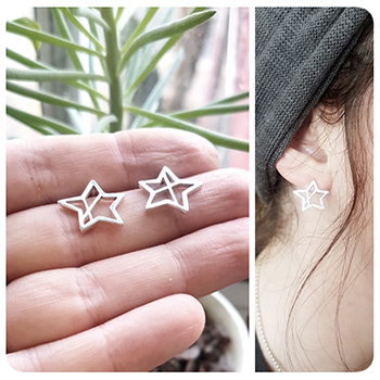 'Similar but Different' Star handmade Stud Earrings.  Earrings are sterling silver, with push-on silver butterfly backs, and measure approx. 12x13mm in size.