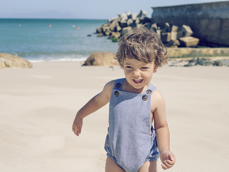 Soft Chambray Rompers available in Denim & Light Denim.