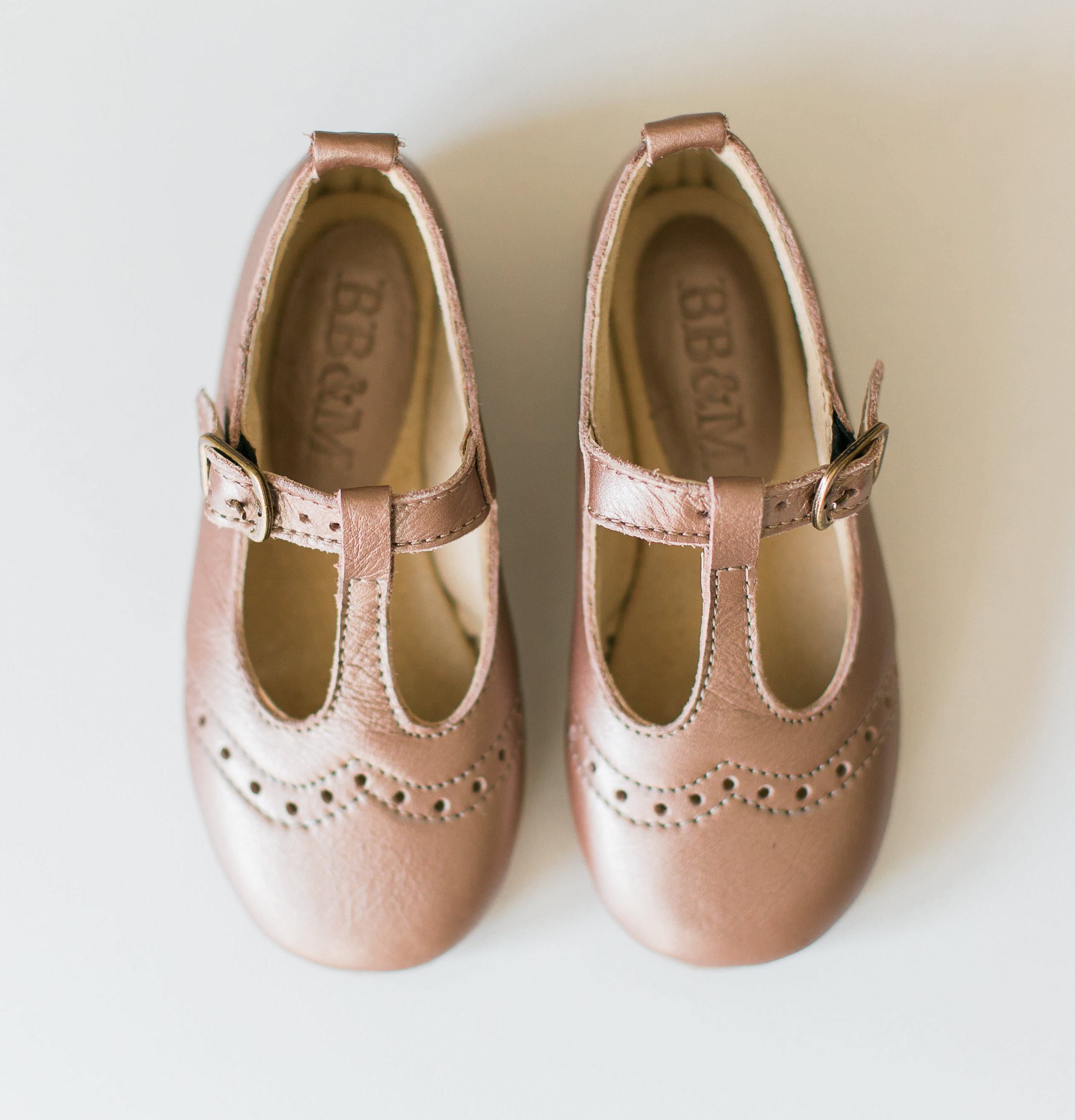 Girls Rose Gold T-bar Mary Janes with broguing - MJ3