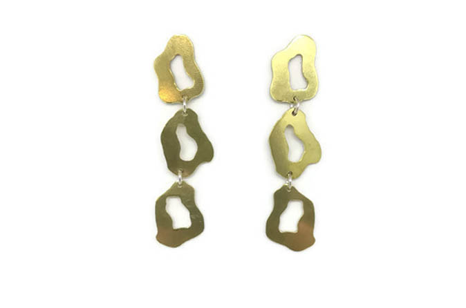 Statement shape brass earrings with three small shell motifs. sterling silver earring pins