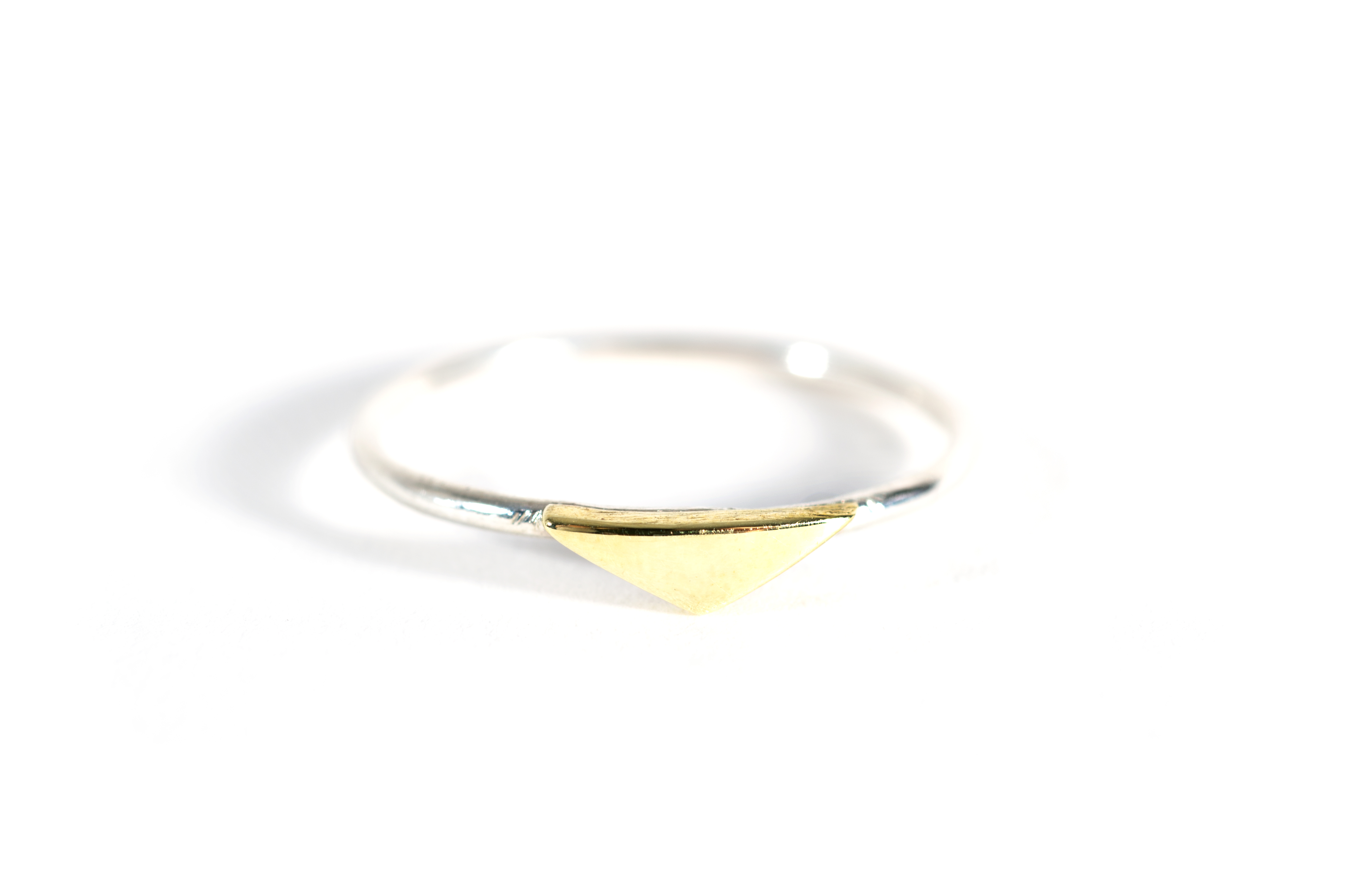 Flat Triangle Shape Ring Silver and Brass