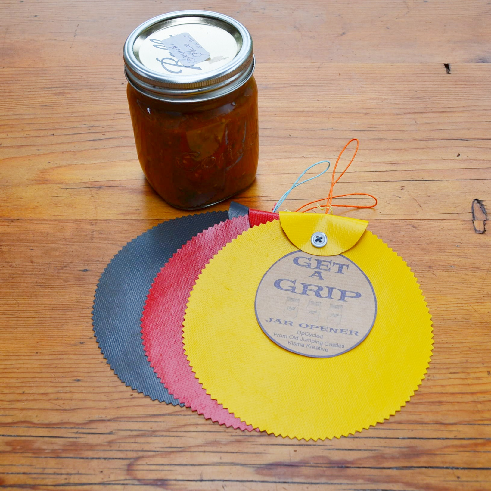 Get a grip on that jar lid and open jars easily with this nifty little circle. Cut from old Jumping Castles. Available in grey, orange, red, blue, yellowandgreen.