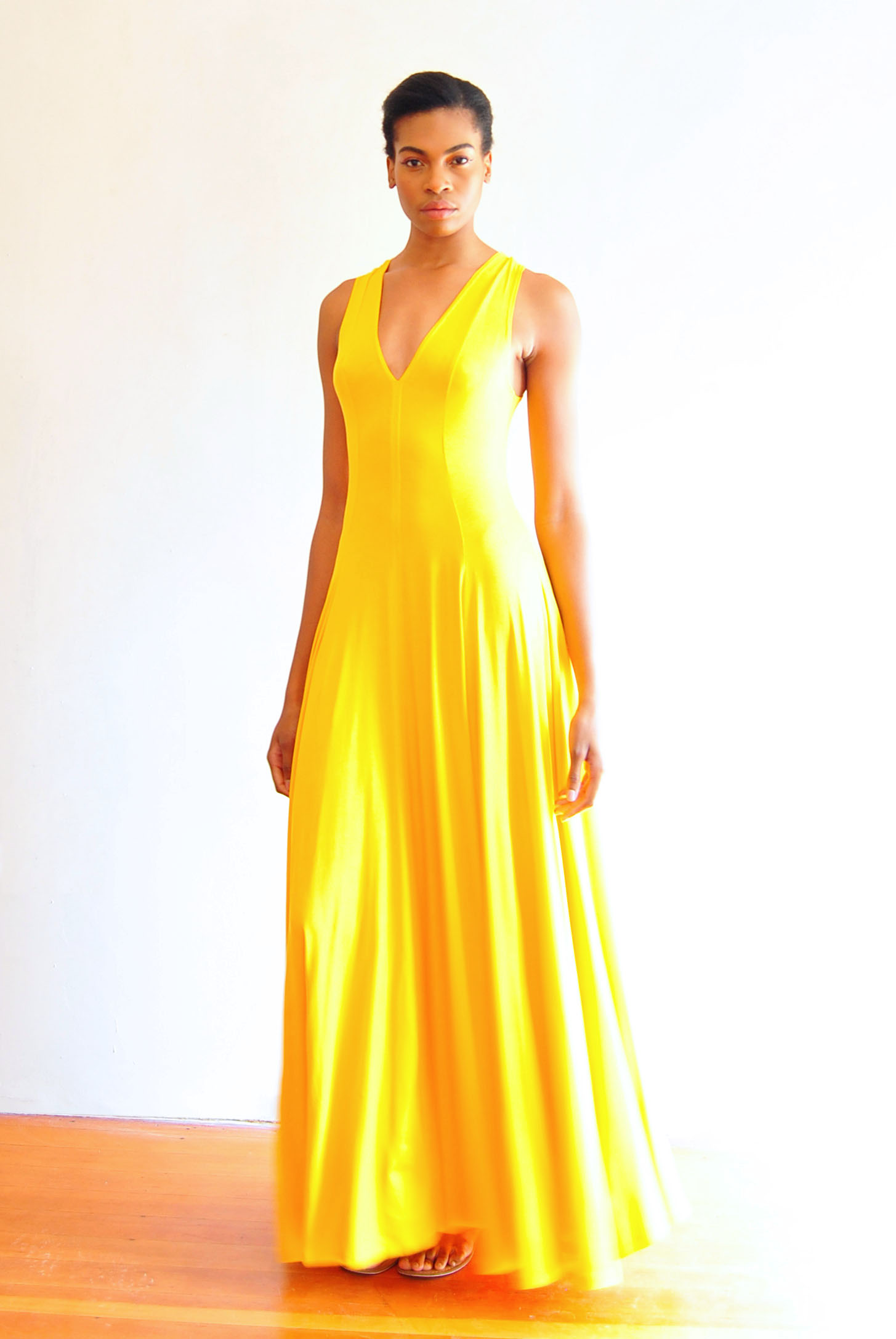 Viscose Maxi Dress Yellow