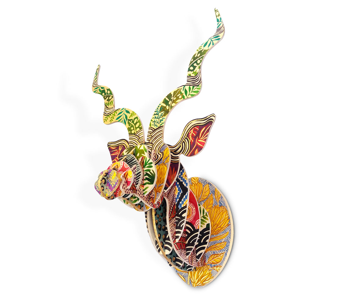 This beautiful African Tribal Kudu sculpture, painted by Cape Town artist Sharon Boonzaier, is inspired by playful themes of our rich African natural and cultural heritage; it is a celebration of patterns and colours found and used by tribes in Africa.