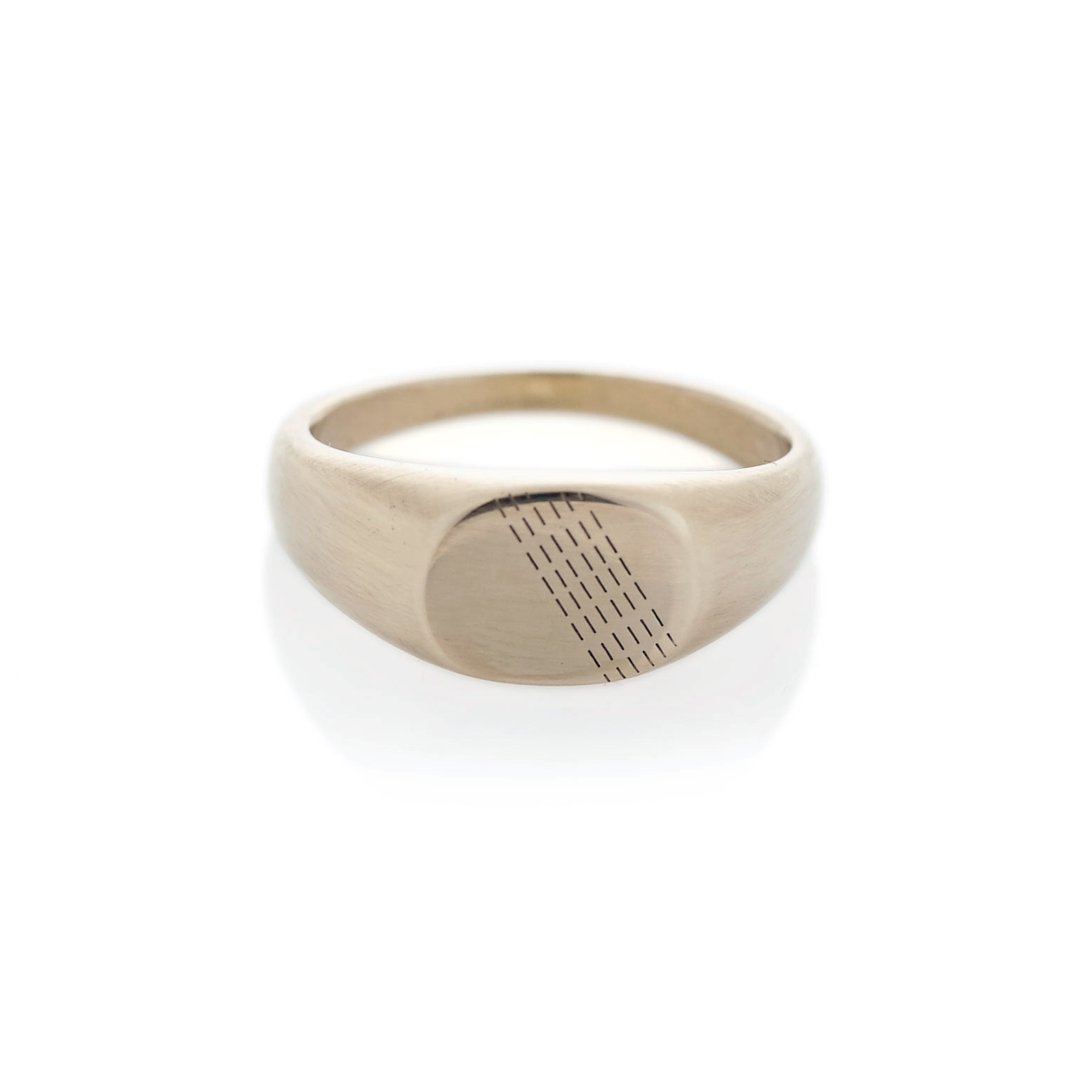 Diagonal rain white gold oval signet ring