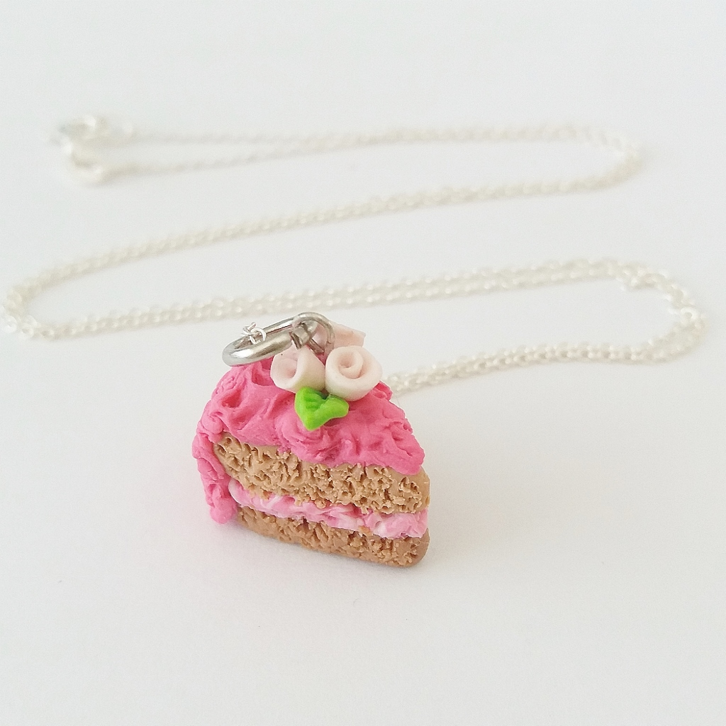 Strawberry Rose cake Charm/ Necklace
