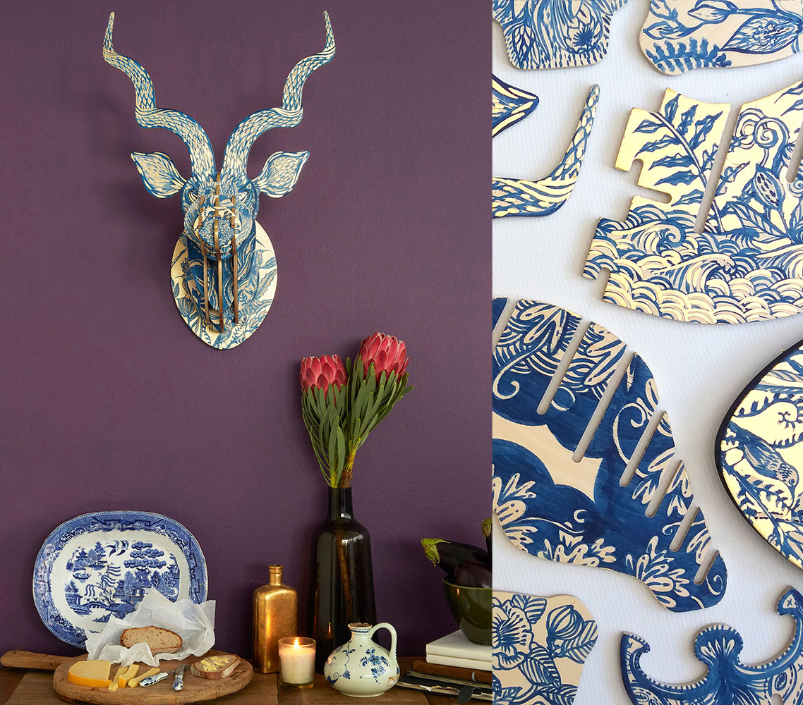 This beautiful Delft 'Fynbos' Kudu sculpture, painted by Cape Town artist Sharon Boonzaier, is inspired by the Far East's blue patterning used on European delft ceramics and then brought to the Cape by the Dutch settlers in the 1600s. All this infused with the beauty of the Cape's fynbos – proteas and African wildlife and birds.