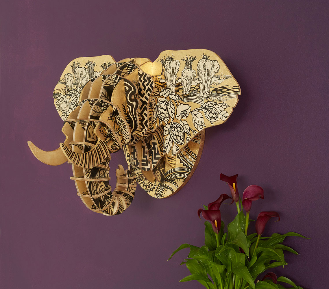 Painted Elephant Head (med) - Baobab Woodlands Theme
