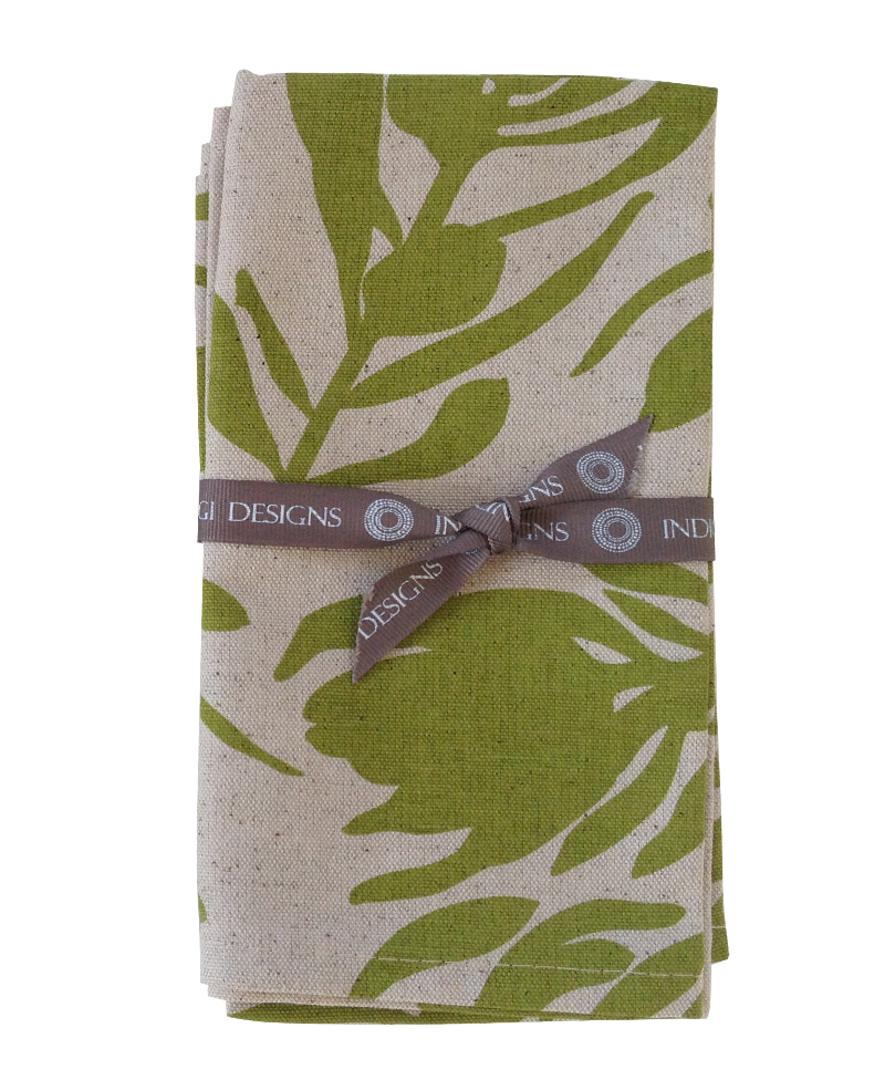 Napkins - Conebush (Olive on Natural)