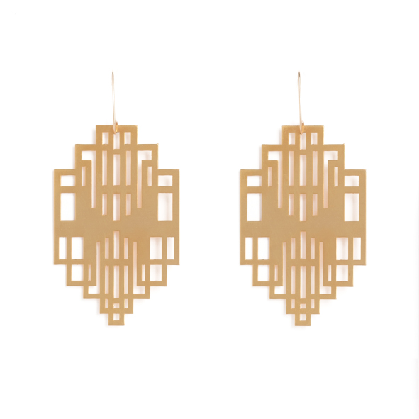 At 14 Darling Street stands an iconic Cape Town building - Mutual Heights. Now a residential space, it was initially the headquarters for Old Mutual. The Art Deco styling of this 1940's building is re-imagined for our new collection as a dramatic pair of golden drop earrings that echo the terraced form of the building. Available in yellow gold plated brass with rolled gold hooks. Size: 6.2cm long x 4cm wide on elegant drop hooks.