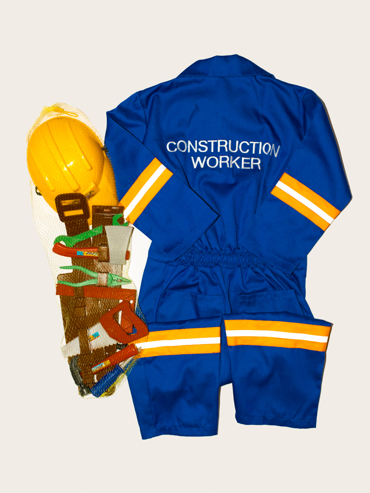 Build those building muscles... 1 piece overall type construction workeroutfit. Excellent quality.  Comes with accessories too!