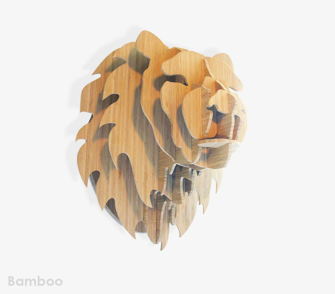 Lion Trophy Head in Bamboo