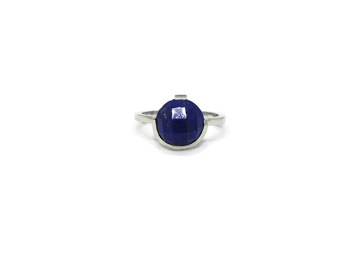 Bespoke sterling silver ring with 10mm checkerboard cut semi-precious Lapiz Lazuli.