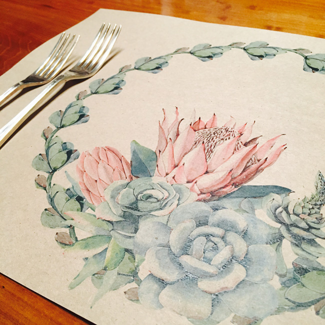 Disposable placemats - African Rose