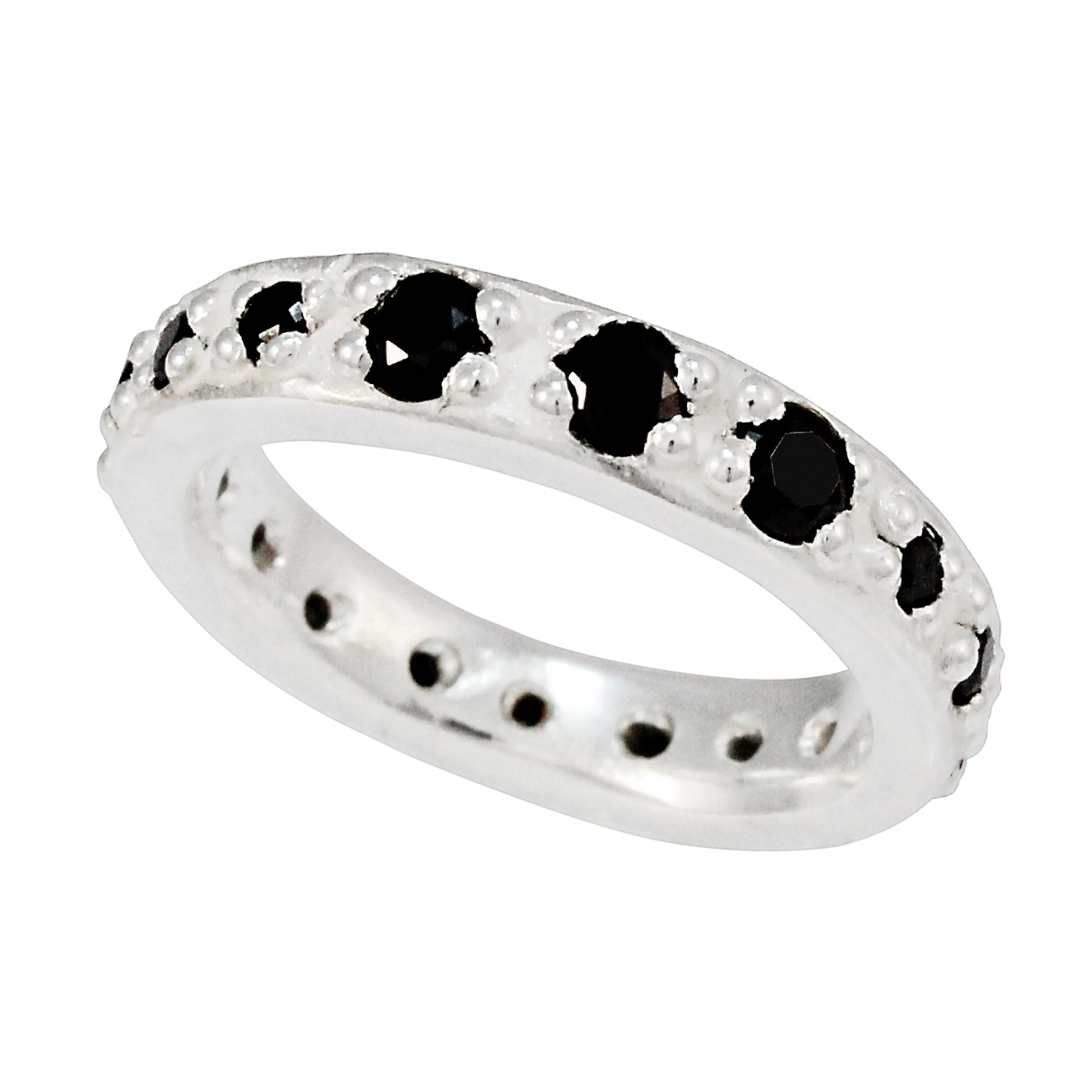 Silver Diamond Organic Eternity Ring