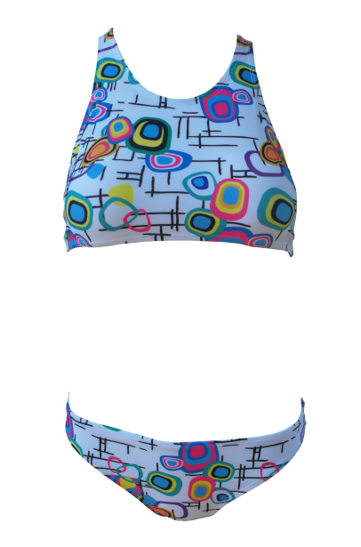 Teen two piece with t-back top and matching bottoms - great for gym and swim!