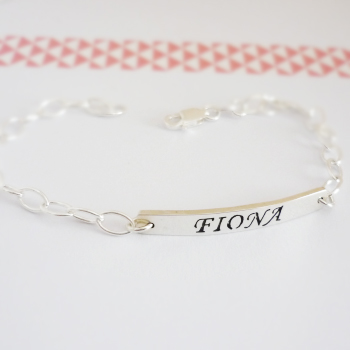 Sterling Silver custom name bracelet - ID-bracelet style.
