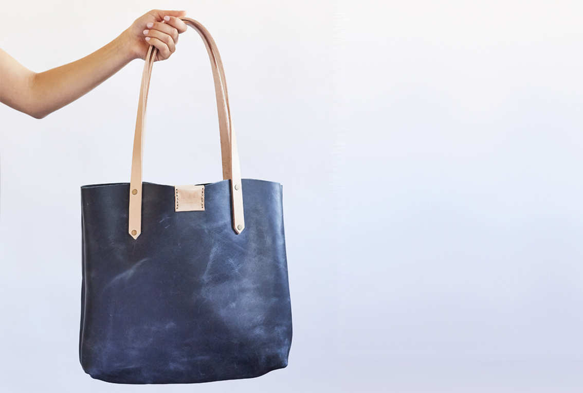 Soft Tote Bag - Distressed Denim