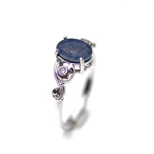 Opal and  Diamond ring set  in White Gold