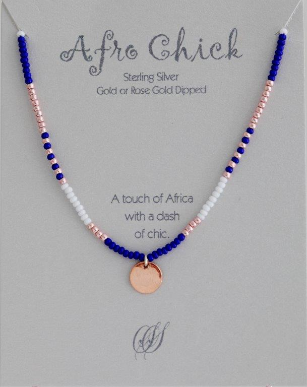 Afro Chick Necklace - Rose Gold, blue and white
