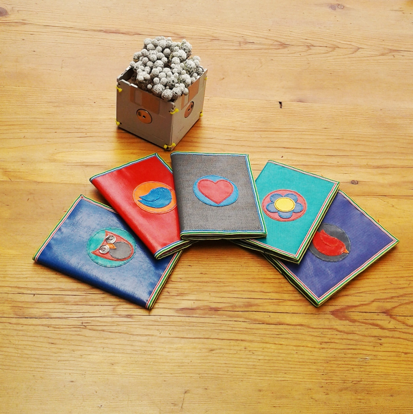 A5 hardcover notebooks with an Upcycled jumping castle cover. The cover is removable so when your notebook is full you can replace it. Choose your background colour and design.