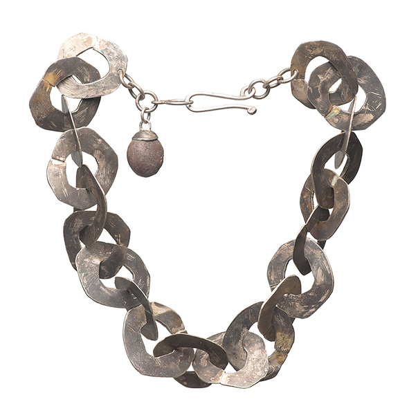 short chain with heavy flat links in oxidised silver with clasp and stone hangingon the clasp  480mm  215.8 grams sterling silver  can be ordered in oxidisedor polished silver