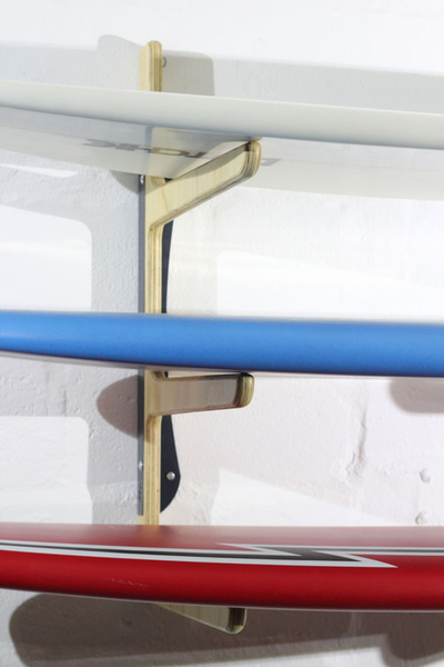 A functional and space saving storage solution for your surfboards, skateboard, bicycle and many other goods. The system works for vertical or horizontal storage of your surfboards, depending on your preference and mounting orientation. All edges are rounded creating added protection for your boards. Each level can accommodate 2 boards comfortably. All boards are welcomed from short boards to long boards to fishes, and SUP's.
