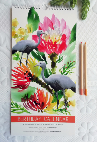 This gorgeous birthday calendar features original botanical watercolours by JHB based artist Audrey Lisik from Stohne Illustration.  Each page is printed on a 240gms card to ensure your calendar will last for many years to come.  42cm high x 21cm wide, with a wiro hook at the top for convenient hanging.  Jot down your important events and never forget a birthday again!  All the flora and birds adorning this calendar are South African.  Printed and designed in Durban.