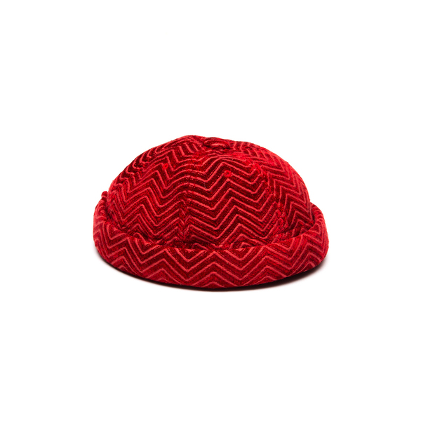 Yarmullke Short Cap - Red Kuba Zag