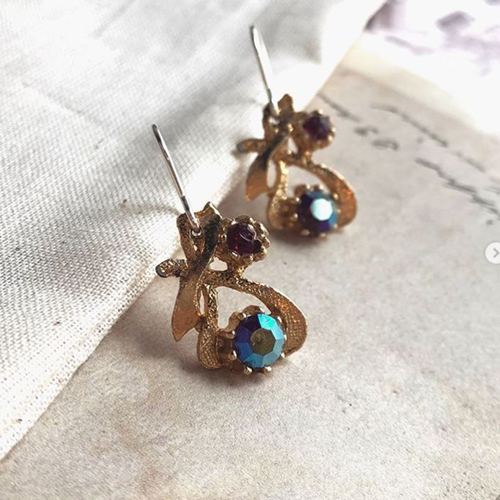 Vintage blue stone recycled costume jewellery earrings