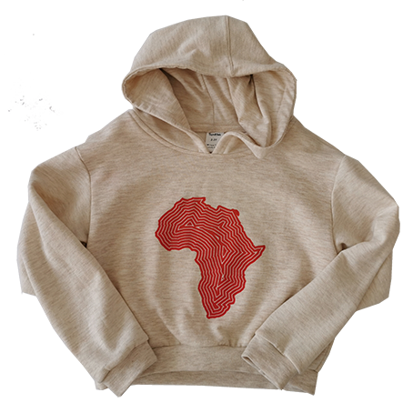 Locally produced from start to finish 100% cotton Available in turquoise Africa print, and grey melange with gold foil print, oatmeal melange with red print Sizes 2-3 Y, 3-4 Y, 4-5 Y, 5-6 Y, 7-8 Y, 9-10 Y, 11-12 Y