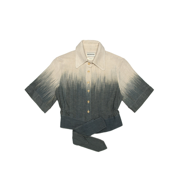 A classic ladies' button-up blouse, finished with self-fabric tie. Cut from an organic100% Indonesian cotton, and dyed at theTarum Balidye house.  Handmade in Cape Town.