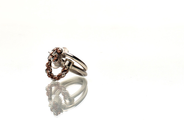Woven sterling silver and copper ring set.