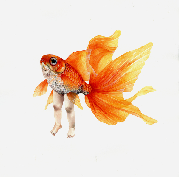 Clementine the 3rd fish person, original painted in Watercolour  Size: 330 mm x 330 mm