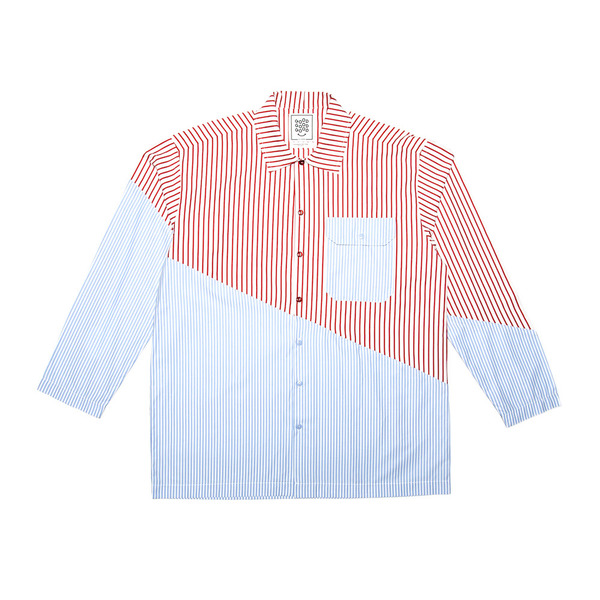 Resort Shirt - Diagonal Split - Sky Blue/Red