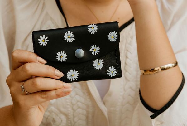 Mini purse - onyx daisy