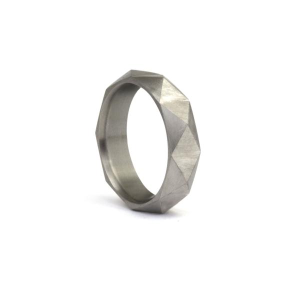 Titanium faceted band
