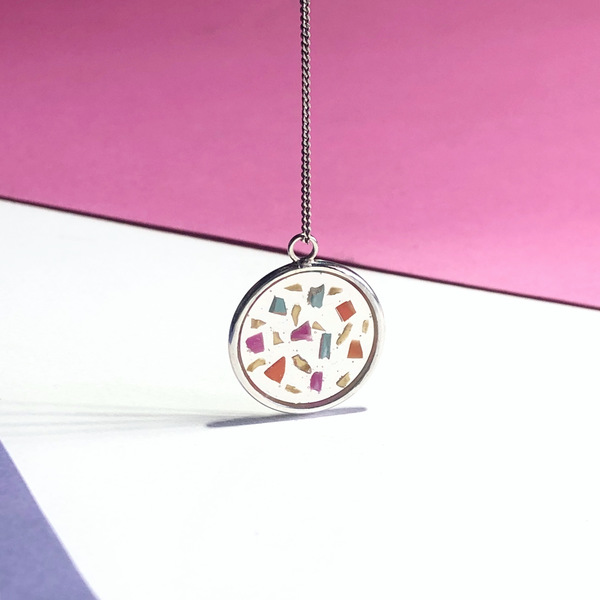 Mixed colour round silver pendant with recycled plastic bits