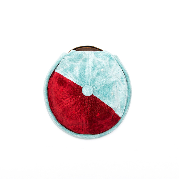 Yarmulke Short Cap - Red / Sky Blue